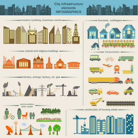 building construction: Set of modern city elements for creating your own maps of the city. Infographics. Vector illustration
