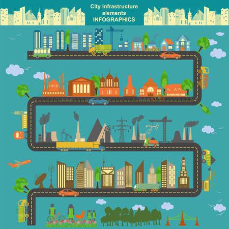 都市の独自のマップを作成するための近代的な都市要素のセットです。インフォ グラフィック。ベクトル イラスト