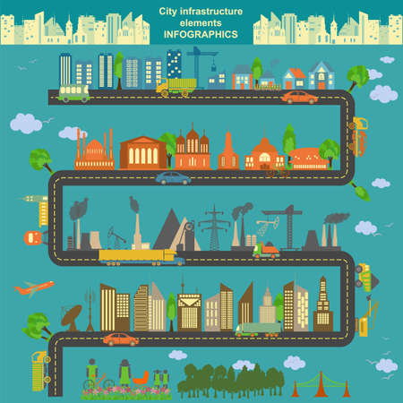 infrastructure buildings: Set of modern city elements for creating your own maps of the city. Infographics. Vector illustration