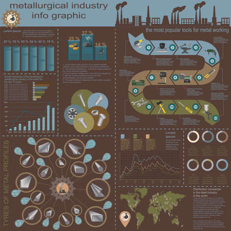 steel mill: Set of elements and tools of metallurgical industry for creating infograpics. Vector illustration