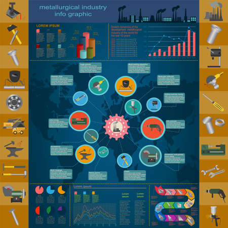 Set of elements and tools of metallurgical industry for creating infograpics. Vector illustration Vector