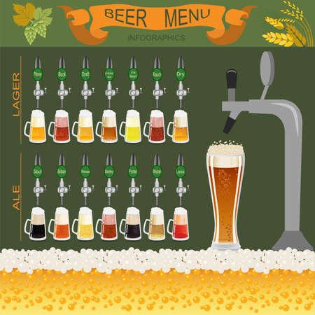 ビール メニュー セットは、独自のインフォ グラフィックを作成します。ベクトル図