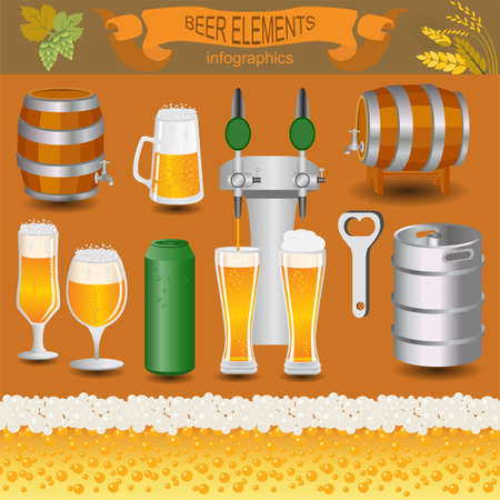 dispensing: Beer infographics, set elements, for creating your own infographics. Vector illustration