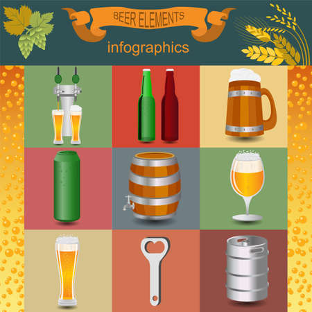 dispensing: Set icons beer equipment, for creating your own infographics. Vector illustration