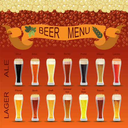porter: Beer menu set, creating your own infographics. Vector illustration