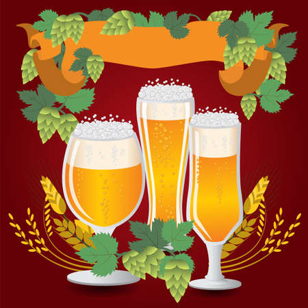 Glasses beer with wheat and hops. Vector illustration Vector