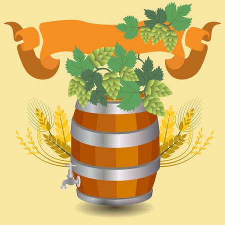 cereal bar: Barrel mug with wheat and hops. Vector illustration