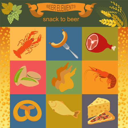 Beer snacks, set icons for creating your infographics. Vector illustration