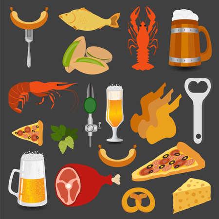 Bier snacks, set pictogrammen voor het maken van uw infographics. Vector illustratie