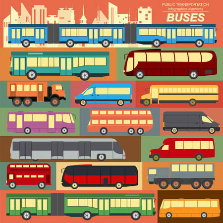 Public transportation, buses. Set elements infographics. Vector illustration Vector