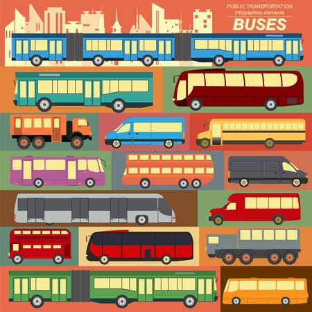 combi: Public transportation, buses. Set elements infographics. Vector illustration