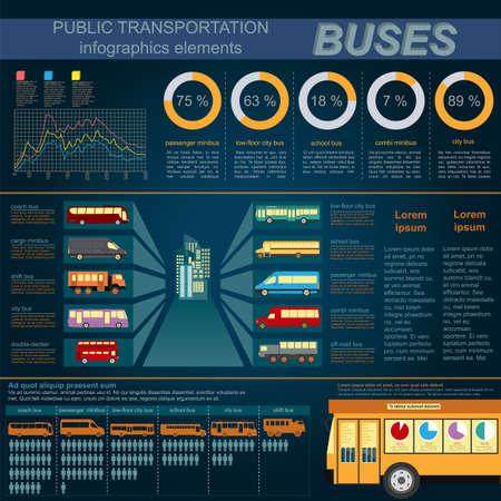 Public transportation ingographics. Buses. Vector illustration Vector