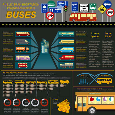 double decker bus: Public transportation infographics. Buses. Vector illustration