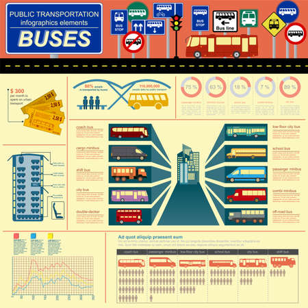Public transportation infographics. Buses. Vector illustration Vector