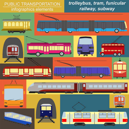 trolleybus: Public transportation icon infographics. Tram, trolleybus; subway. Vector illustration
