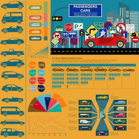 Passenger car, transportation infographics.  Vector illustration Vector