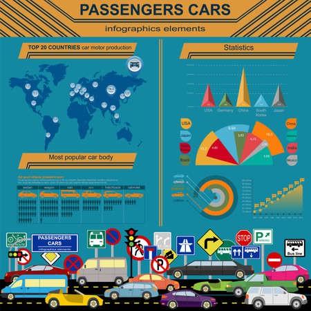 coupe: Passenger car, transportation infographics.  Vector illustration