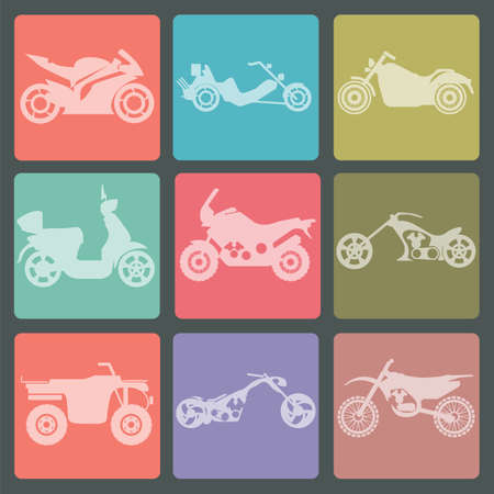 road ring: Set of nine icons of motorbikes. Vector illustration