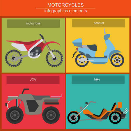 Set of elements choppers, cruisers for creating your own infographics or maps Vector