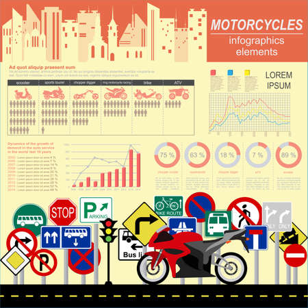 Set of motorcycles elements, transportation infographics.  Vector illustration Vector