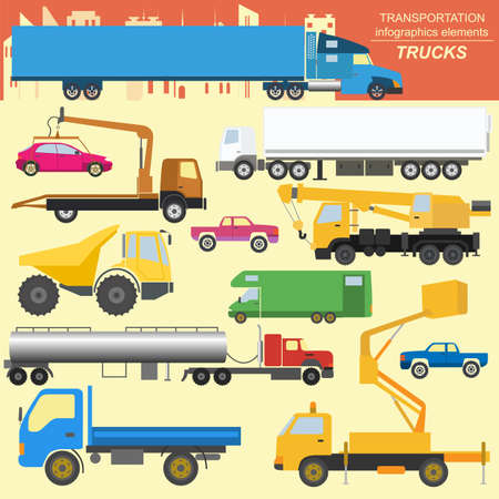 Set of elements cargo transportation: trucks, lorry for creating your own infographics or maps. Vector illustration Vector