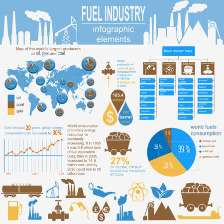 gaseous: Fuel industry infographic, set elements for creating your own infographics. Vector illustration