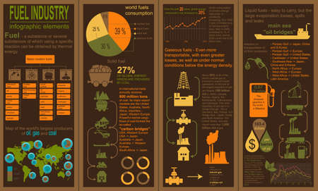 Fuel industry infographic, set elements for creating your own infographics. Vector illustration Vector