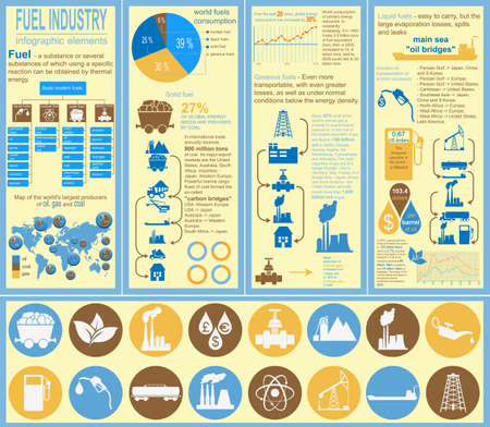 methane: Fuel industry infographic, set elements for creating your own infographics. Vector illustration
