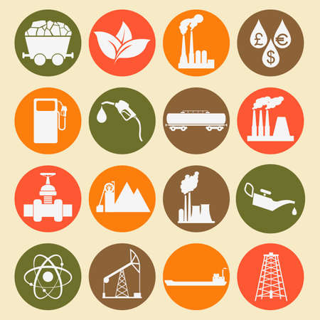 Set 16 fuel and energy icons. Vector illustration Vector