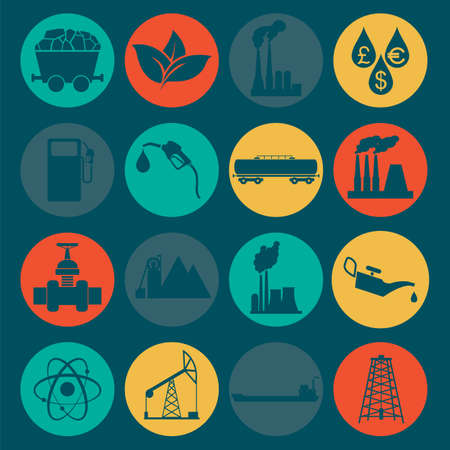 gas plant: Set 16 fuel and energy icons. Vector illustration Illustration