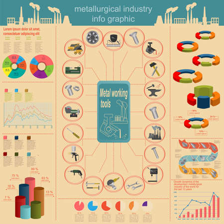 lathe: Set of elements and tools of metallurgical industry for creating infograpics. Vector illustration