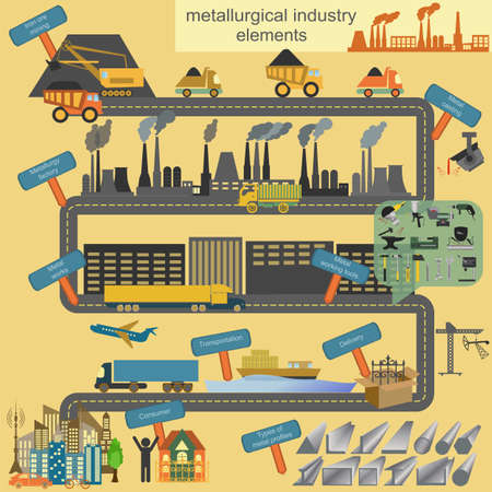 metal working: Set of metallurgy icons, metal working tools; steel profiles for creating your own industry infographics. Vector illustration