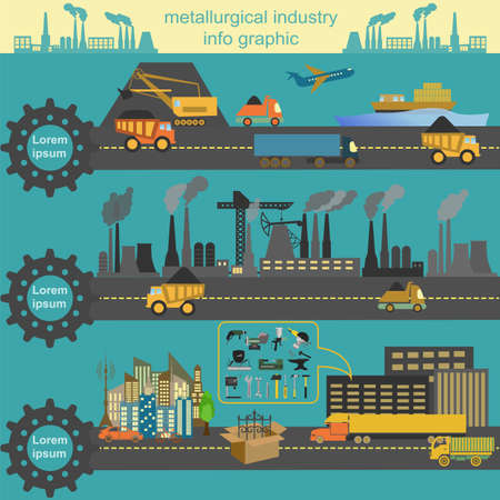 Set of metallurgy icons, metal working tools; steel profiles for creating your own industry infographics. Vector illustration Vector