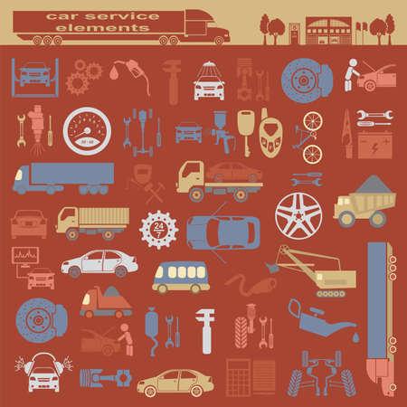 자신의 infographics입니다 또는 자동차 서비스 센터의지도를 작성하기위한 자동차 수리 서비스 요소의 집합입니다. 벡터 일러스트 레이 션 일러스트
