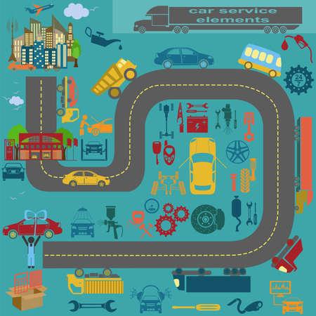 자신의 인포 그래픽 또는 자동차 주유소의지도를 작성하기위한 자동차 수리 서비스 요소의 집합입니다. 벡터 일러스트 레이 션 일러스트