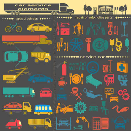 auto service: Set of auto repair service elements for creating your own infographics or maps of the car service station. Vector illustration Illustration