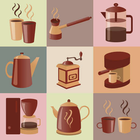 Equipment for making coffee, icons set. Vector illustration Vector