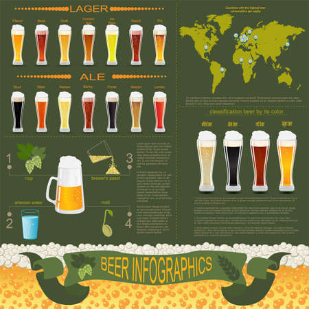 Beer infographics, set elements, for creating your own infographics. Vector illustration Vector