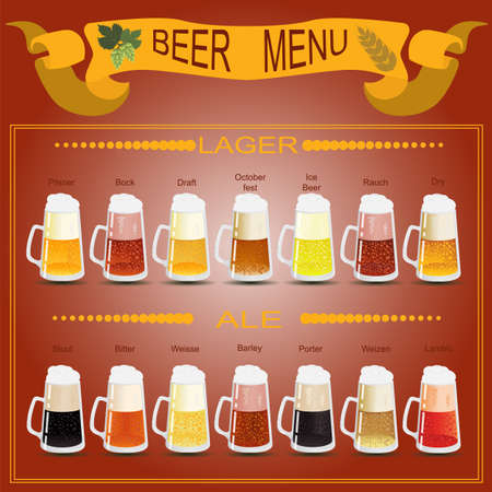 Beer menu set, creating your own infographics. Vector illustration Vector