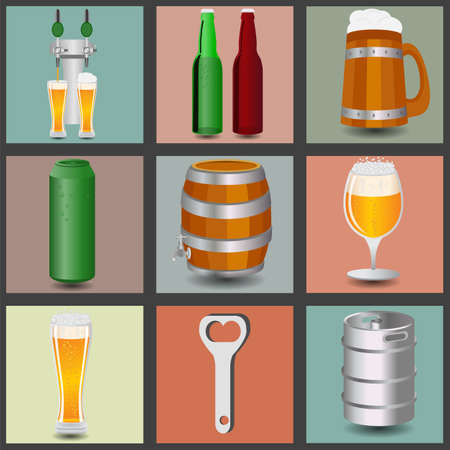 Set icons beer equipment, for creating your own infographics. Vector illustration Vector