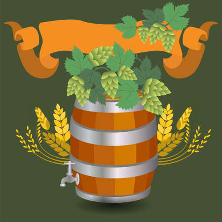 Barrel mug with wheat and hops. Vector illustration Vector