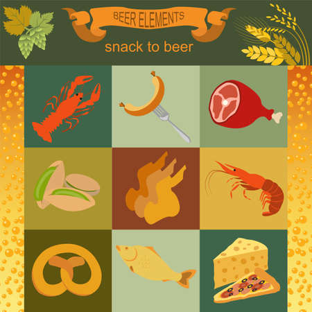 Beer snacks, set icons for creating your infographics. Vector illustration Vector