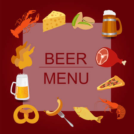 pistachios: Beer snacks, set icons for creating your infographics. Vector illustration