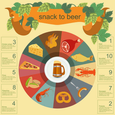 Beer snack  infographics, set elements, for creating your own infographics. Vector illustration Vector