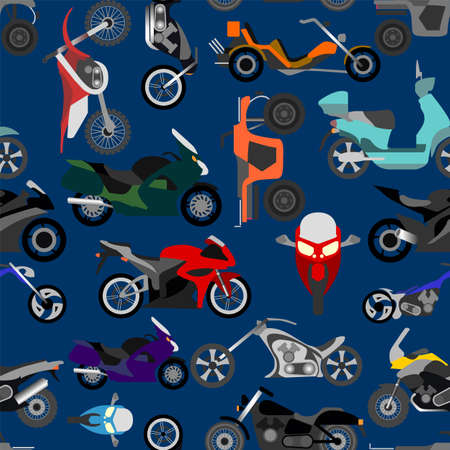 road ring: Motorcycles background, seamless. Illustration