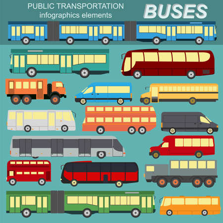 double decker bus: Public transportation, buses. Set elements infographics.