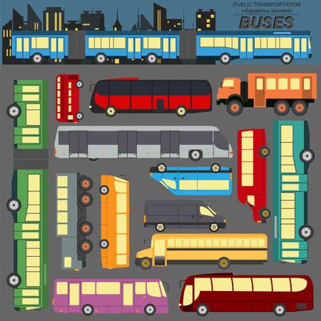 Public transportation, buses. Set elements infographics.  Vector