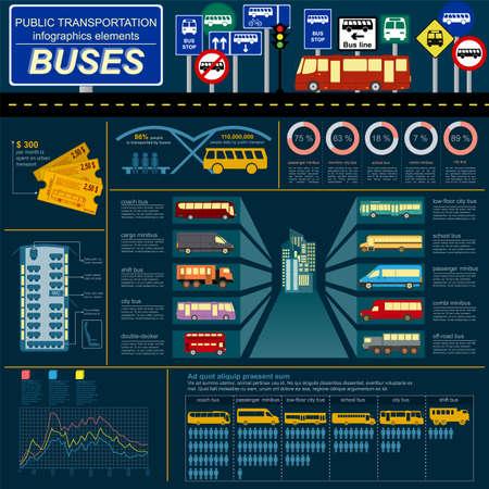 Public transportation infographics. Buses. Vector illustration Vector