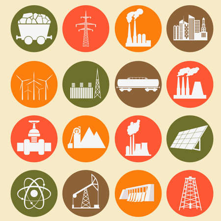 gaseous: Set 16 fuel and energy icons. Vector illustration Illustration