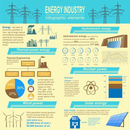 thermal power plant: Combustible y la industria energ�tica infograf�a, el conjunto de elementos para crear sus propias infograf�as. Ilustraci�n vectorial Vectores